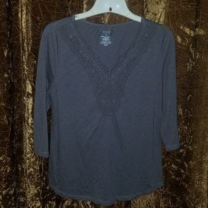 Sonoma Lifestyle Charcoal Gray Lace Neck Top Small
